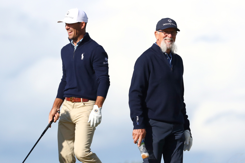Billy Horschel and his father, Billy Horschel Sr on the 10th hole during previews