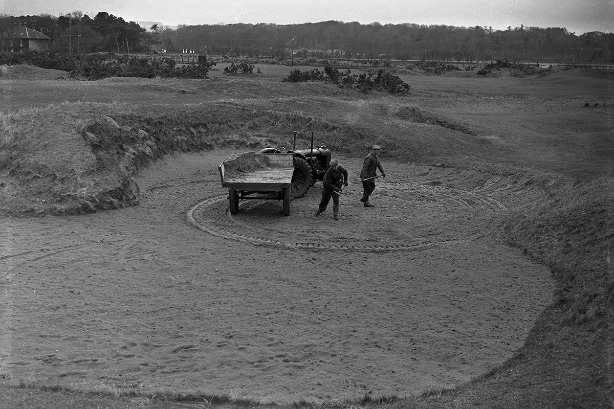 Then and Now... Hell Bunker, with two men and a tractor