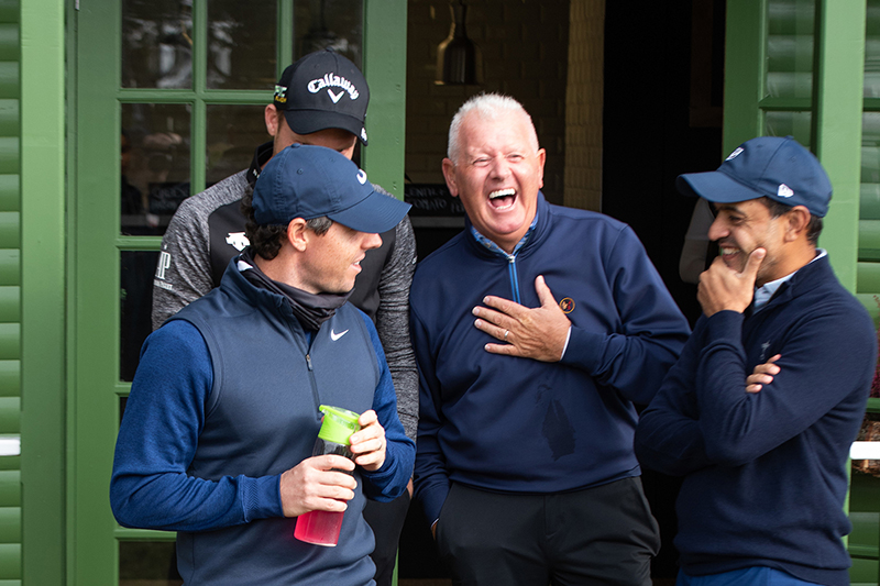 Rory McIlroy and Gerry McIlroy with Mohammed Farooq